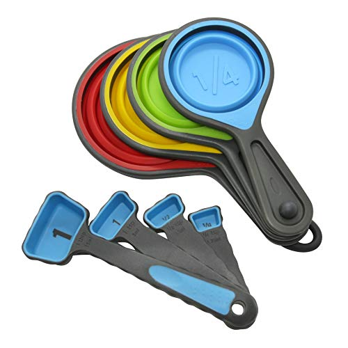 Measuring Cups and Spoons set, Collapsible Measuring Cups, Metric/US Markings for Liquid & Dry Measuring, BPA Free, Food Grade Silicone