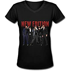 New Edition Tour 2016 Women's V Neck Tee Shirt Black