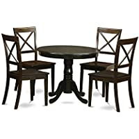East West Furniture ANBO5-CAP-W 5-Piece Kitchen Table and Chairs Set, Cappuccino Finish