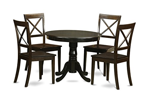East West Furniture HLBO5-CAP-W 5-Piece Kitchen Nook Dining Table Set, Cappuccino Finish