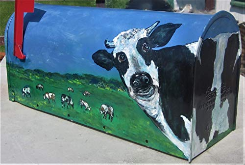Hand Painted Mailbox, House Warming Gift, Wedding Gift, Country Chic, New Home Gift, Custom Mailbox, Mailboxess, Cow Lover Mailbox, Cows, Farm Scenes, Rural Scenes, Cow Lover Art, Outdoor Art,