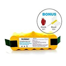Tenergy 3500mAh Replacement Battery for iRobot Roomba R3 500 600 700 800 900 Series 3.5Ah 14.4V Advanced Power System (APS) NiMH iRobot Battery Bonus 4 Side Brushes and 1 Brush Cleaning Tool
