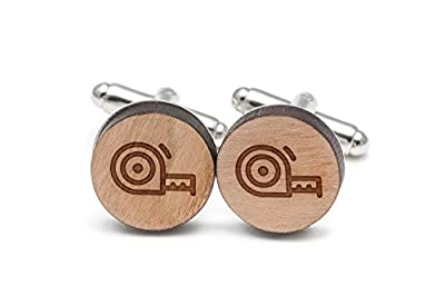 WOODEN ACCESSORIES COMPANY Wooden Cufflink For Men - Laser Engraved Measuring Tape Design - Unique Cufflinks Made In The USA