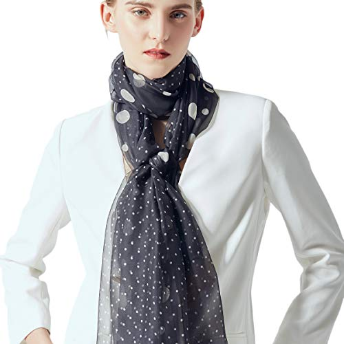 - Silk Scarf Women Lightweight Dot Print Shawl Wrap Scarf 74
