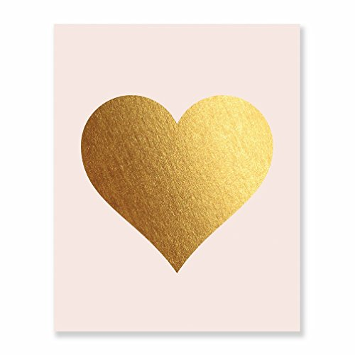 Gold Foil Heart Print Blush Pink Wall Art Modern Heart Decor Love Nursery Room Poster 5 inches x 7 inches A32