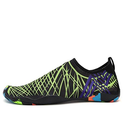 AFFINEST Unisex Zapatos de Agua de natación Calzado de Secado rápido Respirable Soles de Color Zapatos de Agua Piscina Playa Verde