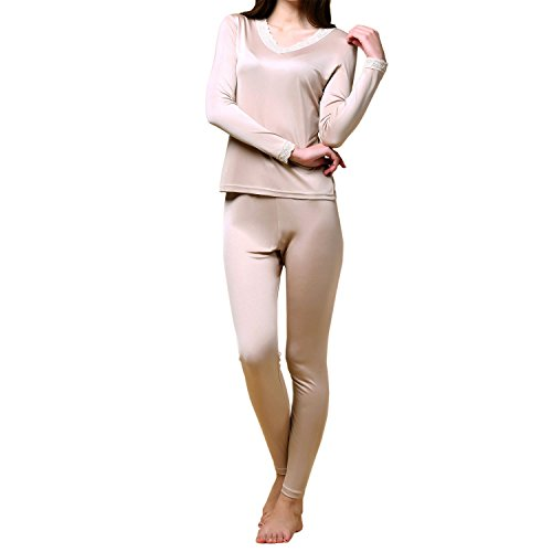 Paradise Silk Pure Silk Knit Women Double Jersey Lace V Neckline Long Johns Set[US14,Beige]