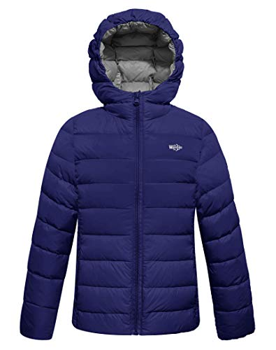 Wantdo Boy's Ultra Light Down Travel Jacket Windproof Hoodies Zipped Outwear Anorak(Navy, 8)