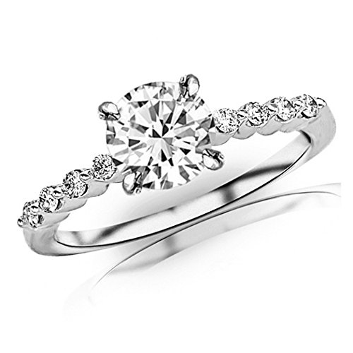 0.65 Carat t.w. Platinum Floating Prong Set Round Diamond Engagement Ring with a 0.5 Ct Forever Brilliant Round Moissanite Center ()