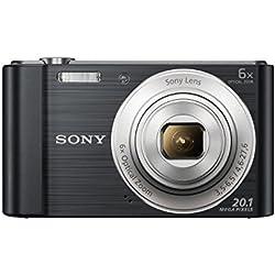 Sony DSC-W810 Fotocamera Digitale Compatta Cyber-shot, Sensore Super HAD CCD da 20,1 Megapixel, Obiettivo Sony con Zoom Ottico 6x, Nero