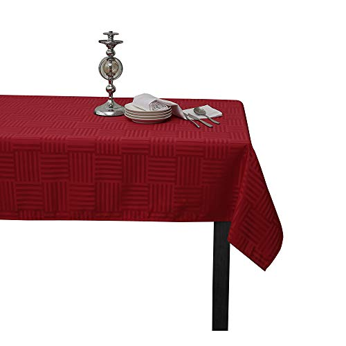 Sense Gnosis Christmas Red Striped Jacquard Waterproof Tablecloth Oil-proof Spill-proof Stain Resistant Rectangle Tabletop Cover for Kitchen Dining Table 60 x 120 Inch Decoration Parties, Holiday