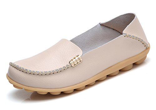 VenusCelia Women's Natural Comfort Walking Flat Loafer(8 M US,Beige) (The Best Shoes For Standing Up All Day)