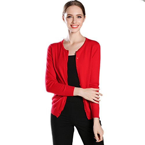 % Pure Cashmere Cardigan Long Sleeve Crew Neck Red L (Pure Cashmere Cardigan)