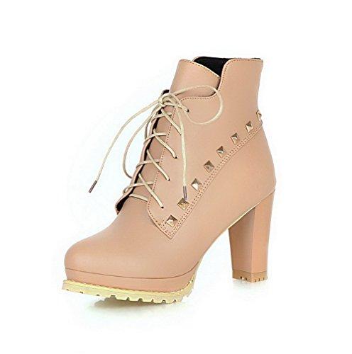 AgooLar Damen Schnüren Rund Zehe Hoher Absatz Niedrig-Spitze Stiefel, Aprikosen Farbe, 37