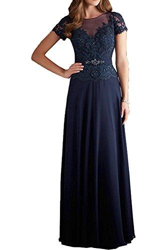 Braut Navy mia Brautmutterkleider Kurzarm Blau Promkleider Langes Jugenweihe La Lila Festlich Spitze Damen Kleider Abendkleider Mit q5ww86d4