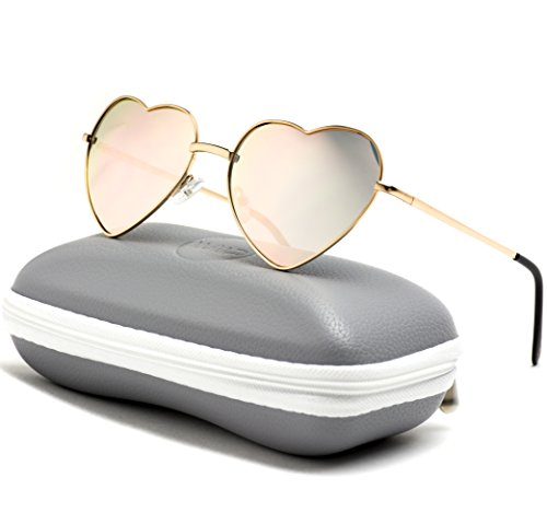 Women Metal Heart Frame Mirror Lens Cupid Heartshape Sunglasses (Mirror Pink Lens, ()