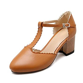 CHTOU Womens Shoes Chunky Heel Heels   TStrap   Round Toe Heels Office