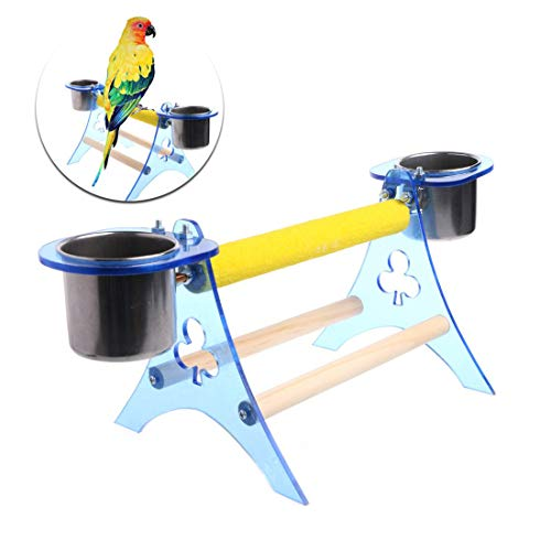 Bird Training Perch Stands with 2 Food Cups Table Playstand for Parrot Budgie Parakeet Cockatiel Cockatoo Conure (Random…