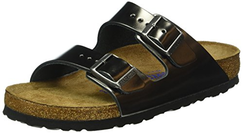 Birkenstock Women's Arizona 2 Strap Soft Cork Footbed Sandal Anthracite 40 M EU
