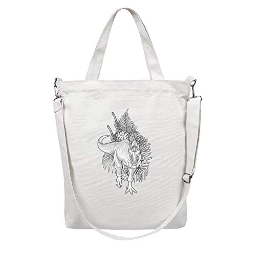 12.5X15 Inches Cute Zip Craft Canvas Large Tote Bag For Women rex dinosaur huge Reusable Grocery Beach Work Gym Book Lunch School Shopping Shoulder Handbag