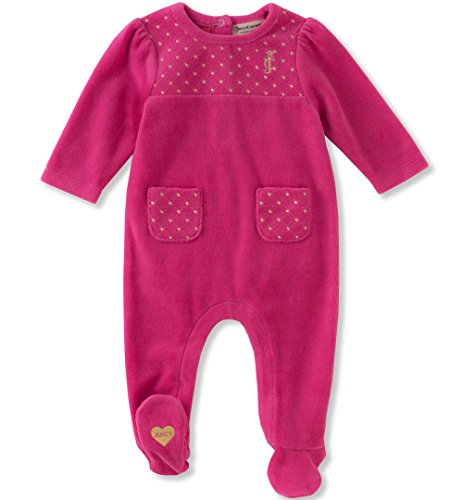 Juicy Couture Girls' Footie, Passion Berry, 6-9 Months