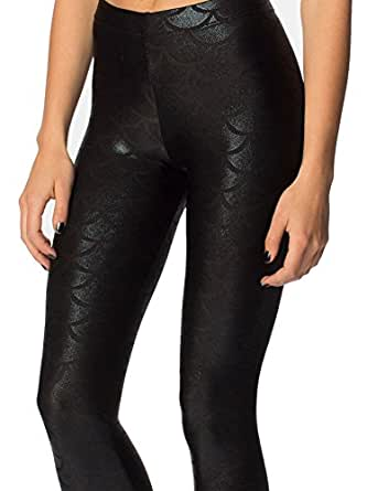 Jescakoo Digital Print Mermaid Fish Scale Shiny Leggings for Women Black S