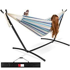 Garden and Outdoor Best Choice Products 2-Person Indoor Outdoor Brazilian-Style Cotton Double Hammock Bed w/Carrying Bag, Steel Stand… hammocks