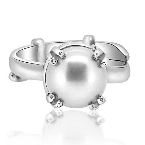 Adjustable Silver Moti Ring 6.50 Ratti Pearl Gemstone Astrological By Arihant Gems And (Diamond Freshwater Brooch)