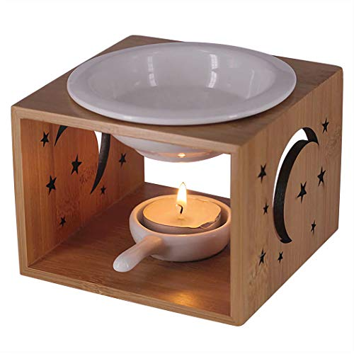 (Singeek 100ML Essential Oil Burner,Hollowing Floral Tea Light Holder Aromatherapy Oil Warmer, Holiday Home Decoration Valentine (Stars and Moon))