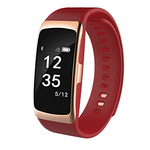 Fitness Trackes S68 Smart Bracelet IP67 Waterproof 0.73inch Metal panel Heart Rate Monitor Smart Band Calorie Counter Sleep Tracker Blood Pressure Monitor App for iOS and Android Cellphone (red)
