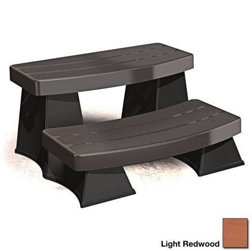 Spa Sure Step II – Light Redwood – Round or Square Portable Hot Tub Accessory - Two Tier Durable Plastic Steps by Byron Originals