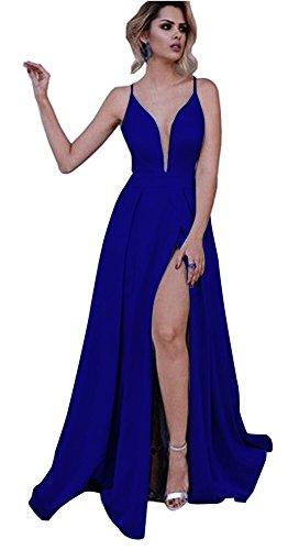 Side Royal Dressylady V A Neck Slit Prom Dress Line Blue Spaghetti Straps Long Light Blue Deep qxq4TAn1w