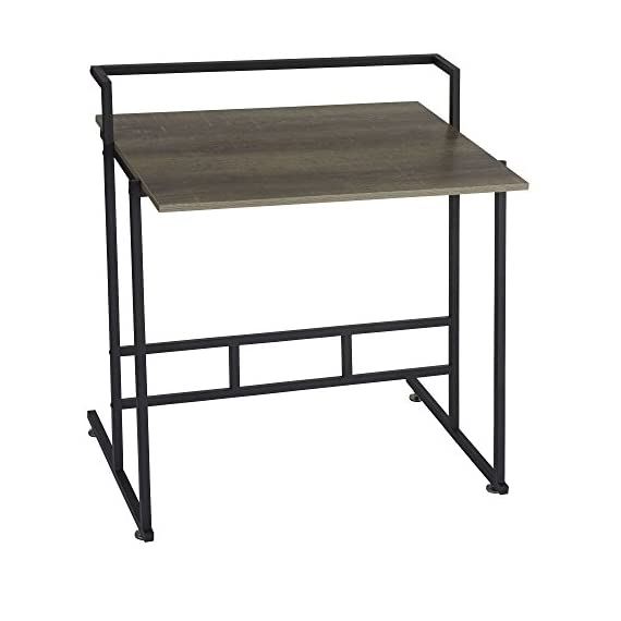 Household Essentials Ashwood Office Desk | Gray-Brown | Black Metal Frame - VERSATILE OFFICE DESK with black steel legs and distressed gray wood grain finish GREAT FOR SMALL SPACES but has ample leg room for you and your office chair MINIMALIST DESIGN with clean lines and small footprint - writing-desks, living-room-furniture, living-room - 41G76RyoFJL. SS570  -