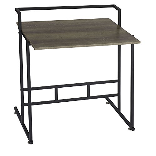 (Household Essentials 8070-1 Ashwood Office Desk | Gray-Brown | Black Metal Frame)