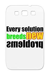 Text On T Shirt Gold Case Cover For Sumsang Galaxy S3 Fun Problems Problem Solution Funny Jokes
