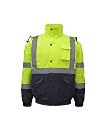 Clothing Reflective Cotton Coat, Hi Vis Visibility Safety Work Hoodie Traffic Safety Jacket/Highway Cold Coat/Cycling Suit/Winter Fluorescent Jacket (Size : L)