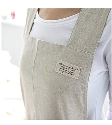 (Japanese Style X Shape Cotton Linen Apron Beige Linen True Color Halter Cross Bandage Aprons Kitchen Cooking Apron)