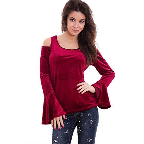 Toocool - Camiseta de manga larga - para mujer burdeos