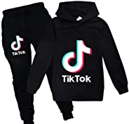 Ambcol TIK Tok Pullover Hoodie and Sweatpants Suit for Boys Girls 2 Piece Outfit Sweatshirt Set