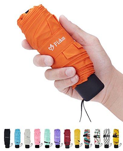 Fidus Mini Travel Sun&Rain Umbrella - Light Compact Portable Parasol Umbrella for Men Women Kids(Orange