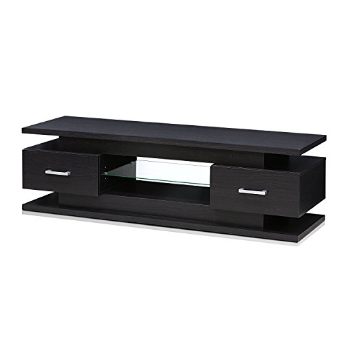 FURINNO FVR7231WG Indo Entertainment Center for TV up to 65 Inch with 2 Drawers and Glass Shelf, (2 Drawer Entertainment Center)