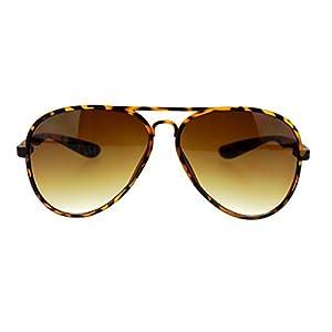 Ultra Thin Flexible Plastic Frame Retro Police Style Avitor Sunglasses Tortoise Brown