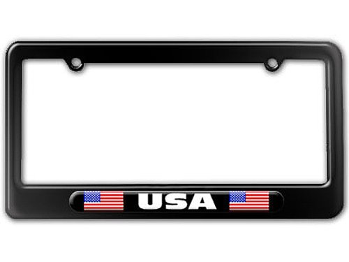 USA Country Flag - Black Double License Plate Tag Frame - Color Gloss (Flag Color License Plate)