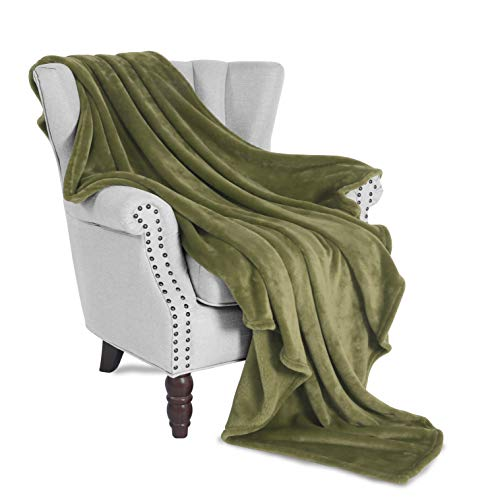 Exclusivo Mezcla Large Flannel Fleece Plush Soft Throw Blanket - 50 x 70 (Olive Green)