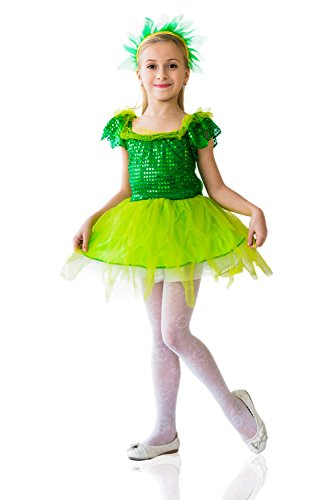 Kids Girls Tinker Bell Costume Elven Princess Pixie Birthday Party Fairy Dress Up (8-11 years, Green)