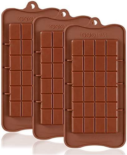 Pritogo 3 moldes de silicona para chocolate, para hornear chocolates, caramelos, bombones, moldes flexibles para hacer chocolate