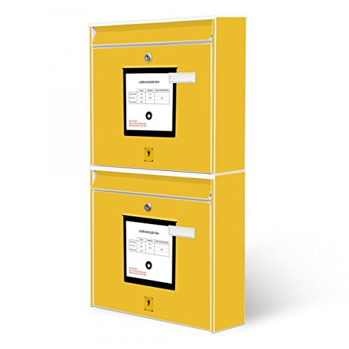 Burg-Wächter Briefkastenanlage, Design Foto Postkasten, Stahlblech weiß, MAIL 5877 W 36x64x10cm mit Motiv Briefkasten Gelb