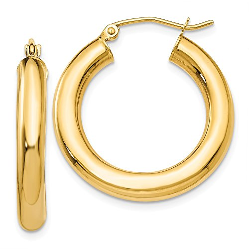 (14k Yellow Gold 4mm Tube Hoop Earrings Ear Hoops Set Round Classic Fine Jewelry Gifts For Women For Her)