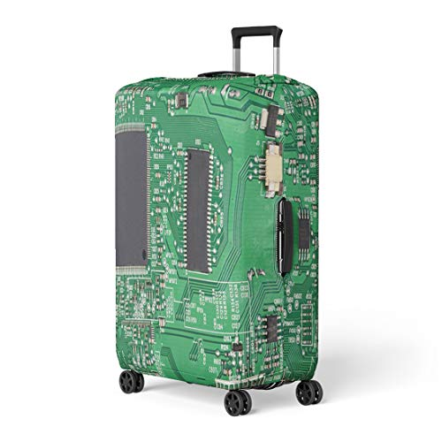 Pinbeam Luggage Cover Green Pcb Circuit Board Electronic Computer Transistor Cpu Travel Suitcase Cover Protector Baggage Case Fits 26-28 inches