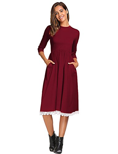 Leadingstar Women's A-line Casual Party Occasion Swing Midi Dress (Burgundy, S) -